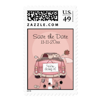 Pink Bride and Groom Getaway car - Save the Date Postage Stamp