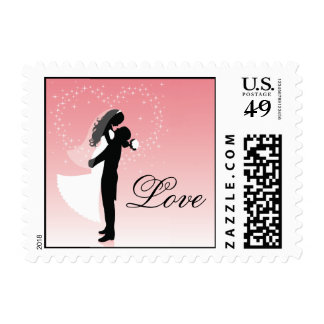 Pink Bride And Groom Silhouette Love Postage
