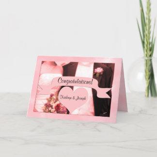 Pink Bride and Groom Wedding Congratulations Card