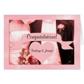 Pink Bride and Groom Wedding Congratulations Card