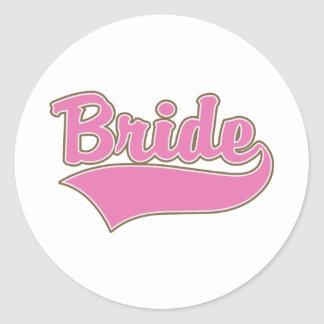 Pink Bride Design with Swash Tail Classic Round Sticker