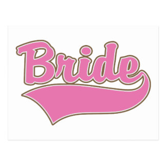 Pink Bride Design with Swash Tail Postcard