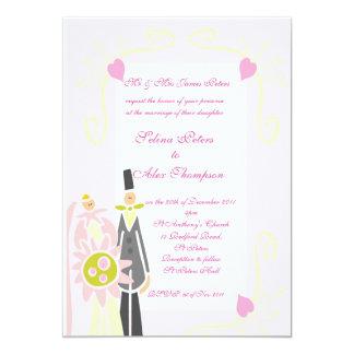 Pink  Bride & Groom Wedding Invitation