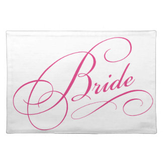 Pink BRIDE to be elegant cursive personalized gift Place Mat