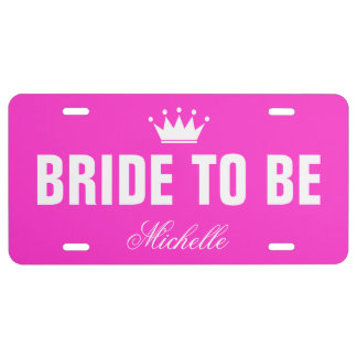 Pink bride to be license plate with custom name license plate