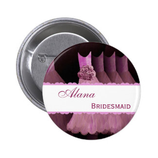 Pink Bridemaid Dresses and Lace Custom Name V01 Button