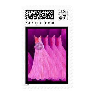 PINK Bridesmaid Dresses BLACK Trim Postage