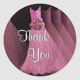 PINK Bridesmaid Dresses - Wedding Thank You Classic Round Sticker