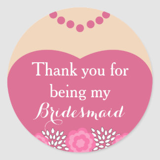 Pink Bridesmaid Wedding Thank You Stickers