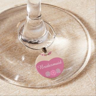 Pink Bridesmaid Wedding Wine Glass Charm