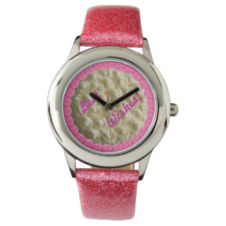 Pink Bridesmaid White Frosted Wedding Cake Watch