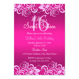 Pink Bright Floral Swirl Sweet 16 Invite