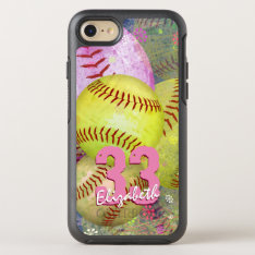 Pink Bright Yellow Women's Softball OtterBox Symmetry iPhone 7 Case at Zazzle