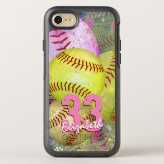 Pink Bright Yellow Women's Softball OtterBox Symmetry iPhone 7 Case