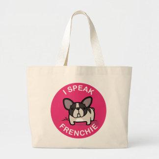 Pink Brindle Pied I Speak Frenchie Large Tote Bag