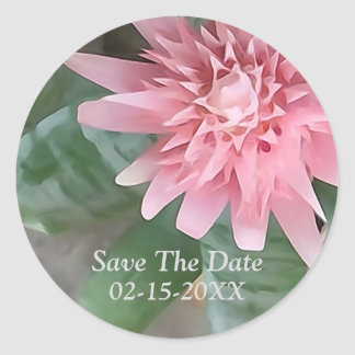 Pink Bromeliad Flower Save The Date Stickers