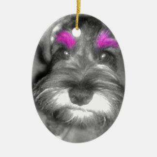Pink Brow Miniature Schnauzer Puppy Rock & Roll Ceramic Ornament