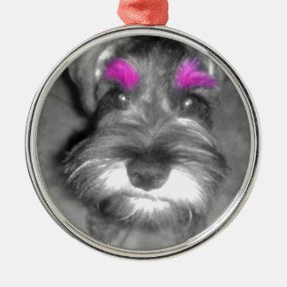 Pink Brow Miniature Schnauzer Puppy Rock & Roll Metal Ornament