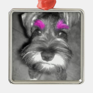 Pink Brow Miniature Schnauzer Puppy Rock & Roll Christmas Ornaments
