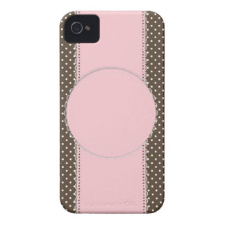Pink Brow Polka Dots Delicate Bridal or Baby Showe Case-Mate iPhone 4 Case