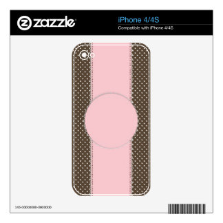 Pink Brow Polka Dots Delicate Bridal or Baby Showe Decal For iPhone 4