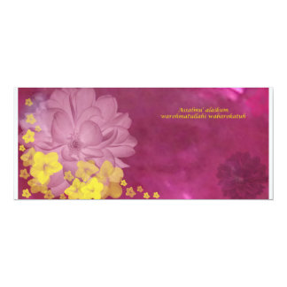 pink brown 4x9.25 paper invitation card