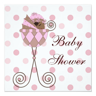 Pink Brown African American Baby Girl Shower 5.25x5.25 Square Paper Invitation Card