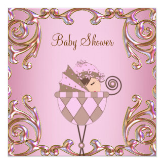 Pink Brown and Gold Girl Baby Shower Invitation