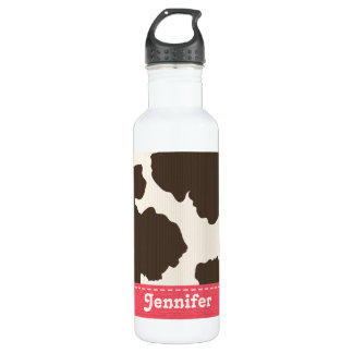 Pink Brown and White Cow Print BPA Fr Stainless Steel Water Bottle