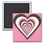 Pink Brown and White Hearts Refrigerator Magnet