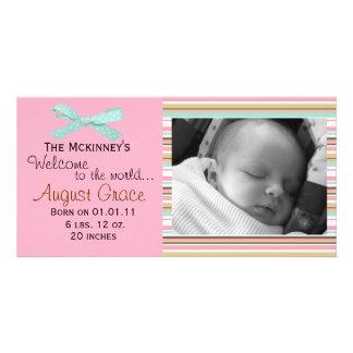 Pink Brown Aqua Photo Card Template