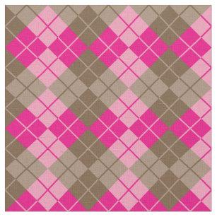 Pink Brown Argyle Fabric