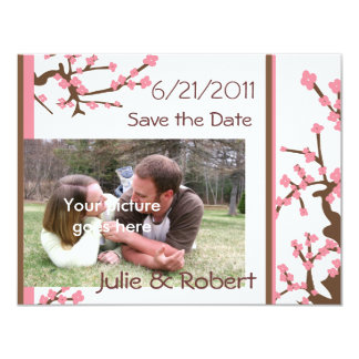 Pink & Brown Asian Blossoms Save the Date Card