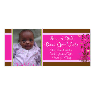Pink/Brown Baby Announcement with Photo, flowers