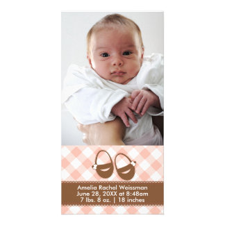 Pink/Brown Baby Booties - Photocard Announcement