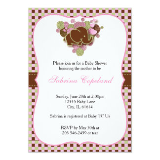 Pink & Brown Baby Elephant for a Baby Shower Card