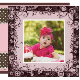 Pink & Brown Baby First Birthday Invitation