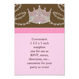 Pink Brown Baby Girl Princess Baby Shower RSVP Card