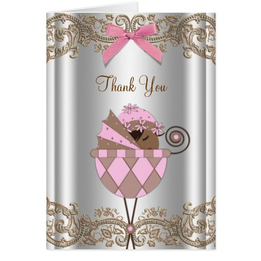 Pink Brown Baby Shower Thank You Cards