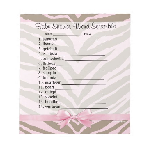 Pink Brown Baby Shower Word Scramble Game 40 Pages Notepad