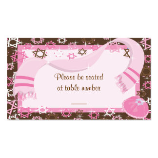 Pink & Brown Bat Mitzvah Table Place Cards Double-Sided Standard Business Cards (Pack Of 100)