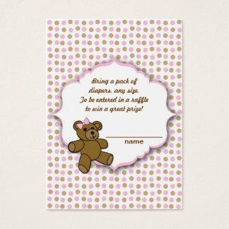 Pink Brown Bear Baby Shower diaper raffle tickets