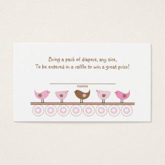 Pink Brown Birds Diaper Raffle Tickets or insert