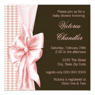Pink Brown Bow Elegant Baby Girl Shower Invitation
