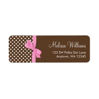 Pink Brown Bow Polka Dot Address Labels