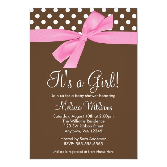 pink brown bow polka dot baby shower invitations zazzle com