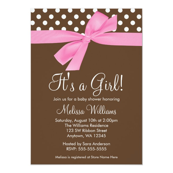 Pink Brown Bow Polka Dot Baby Shower Invitations