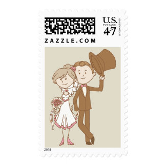 Pink,  Brown Bride & Groom Wedding, Just Married Postage
