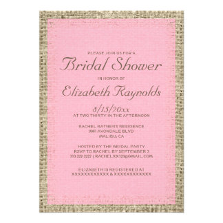 Pink Brown Burlap Bridal Shower Invitations Personalized Announcements