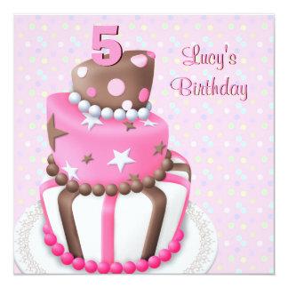 Pink Brown Cake Girls 5th Birthday Party Custom Invites